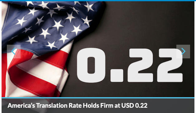 America's Translation Rate Holds Firm at USD 0.22